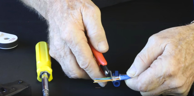 """Push wire bar onto all wires, to 3/16"""" from jacket, then cut wires flush with wire bar"""