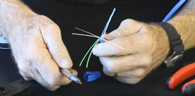 Separate the twisted pairs and drain wire; ensure that there were no kinks in any of them